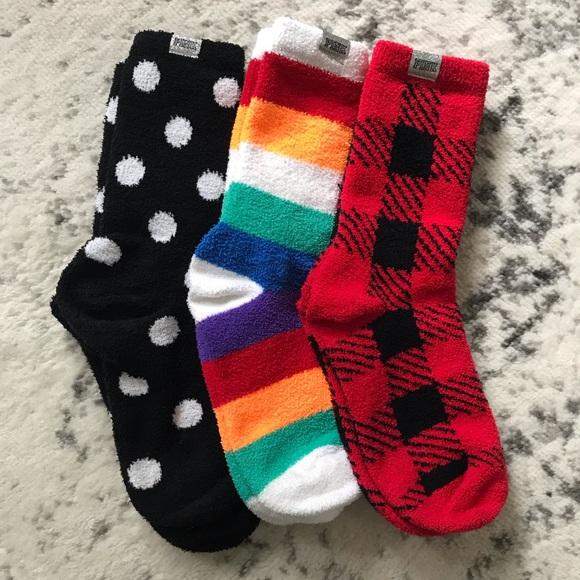 NEW Victoria/'s Secret PINK Marshmallow Cozy Crew Socks Black Logo Rainbow